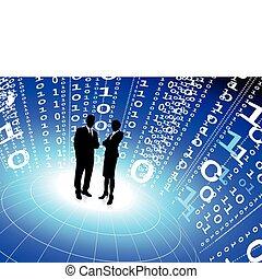 code binaire, equipe affaires, fond, internet