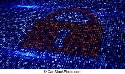 code binaire, serrure, loopable, fond, numérique