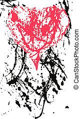 coeur, éclaboussure, effet, encre