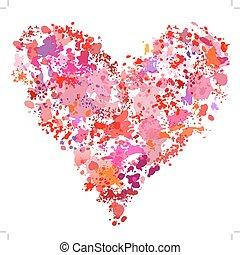 coeur, éclaboussure, résumé, peinture, forme, éclaboussure, peinture