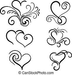 coeur, éléments, main, vecteur, tourbillon, dessiné