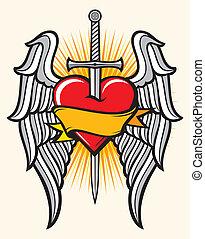 coeur, épée, ailes