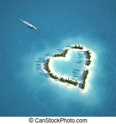 coeur, île, paradis, formé