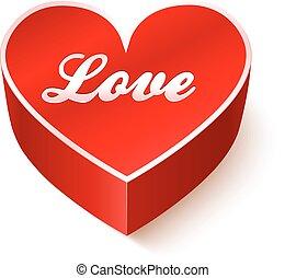 coeur, 3d, amour, rouges, signe