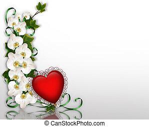 coeur, 3d, lierre, rouges, orchidées