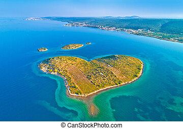 coeur, aérien, formé, île, archipel, galesnjak, zadar, vue