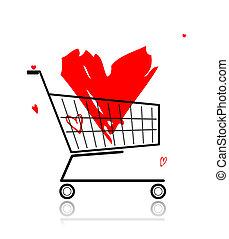 coeur, achats, grand, charrette, conception, ton, rouges