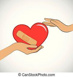 coeur, adhésif, plâtre, womans, deux, cassé, mains, prise, rouges