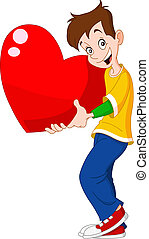 coeur, adolescent, tenue, valentin