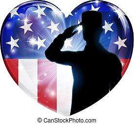 coeur, américain, soldat, drapeau, patriotique, saluer