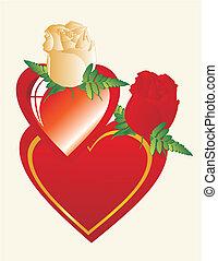 coeur, ami, mon, mieux, roses