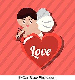 coeur, amour, affiche, cupidon, agréable, rouges