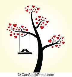 coeur, amour, arbre