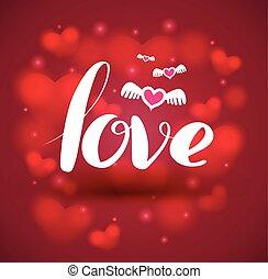 coeur, amour, arrière-plan., lettrage
