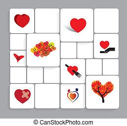 coeur, amour, coloré, icônes, set., collection, vecteur, ou