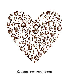 coeur, amour, croquis, cooking!, ustensiles, forme, conception, ton, cuisine