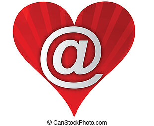 coeur, amour, email