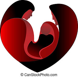 coeur, amour, famille, grand
