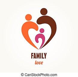 coeur, amour, famille, symbole, -, icône