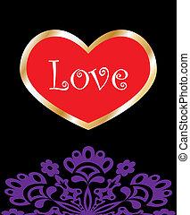 coeur, amour, fond