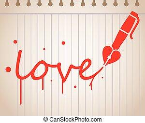 coeur, amour, formé, écrit, stylo, fontaine, mot