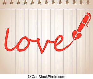coeur, amour, formé, écrit, stylo, mot