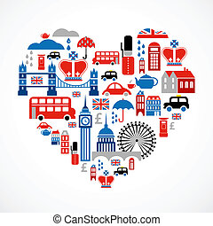 coeur, amour, icônes, beaucoup, -, vecteur, londres