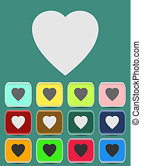 coeur, amour, icônes, symboles, humain, ou