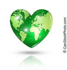 coeur, amour, la terre, icône