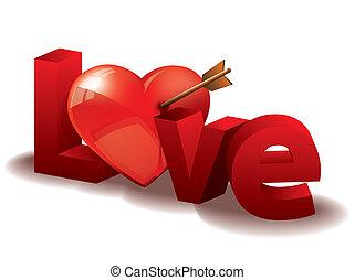 coeur, amour, lettres, 3d