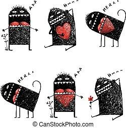coeur, amour, monstre, excentrique, caractère, laid, sketchy, rouges