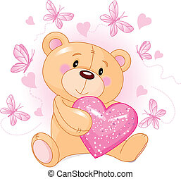 coeur, amour, ours, teddy