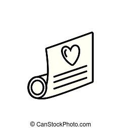 coeur, amour, parchemin