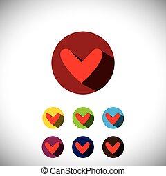 coeur, amour, plat, icônes simples, -, symboles, vecto, conception, humain, ou