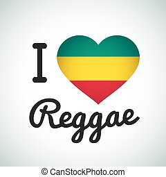 coeur, amour, reggae, illustration, afrique, musique, drapeau, jamaïquain, impression, logo, design.