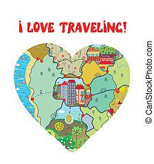 coeur, amour, rigolote, voyage, carte, carte