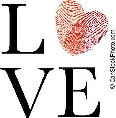 coeur, amour, rouges, empreinte doigt