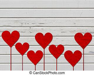 coeur, amour, valentines, bois, planche, cœurs, jour