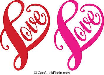 coeur, amour, vecteur, rouges, conception