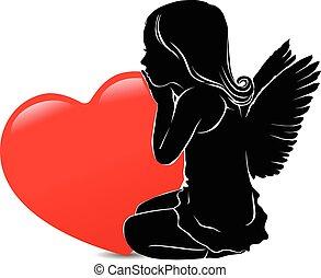 coeur, ange, grand, triste, girl, rouges