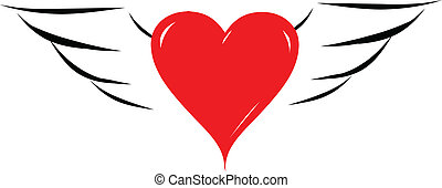 coeur, ange, illustration, vecteur, ailes, rouges
