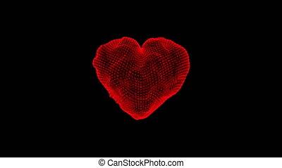 coeur, animation., flotter, résumé, loop., rouges, animation