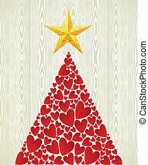 coeur, arbre, noël, amour, pin