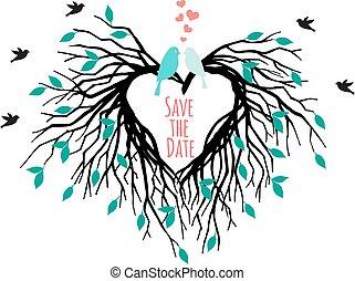 coeur, arbre, oiseaux, mariage