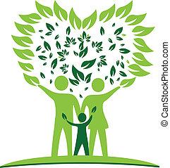 coeur, arbre, pousse feuilles, logo, famille
