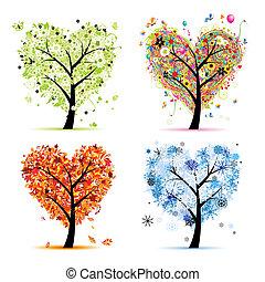 coeur, arbre, ton, printemps, saisons, winter., -, automne, été, art, quatre, conception, forme
