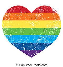 coeur, arc-en-ciel, droits gais, drapeau, retro