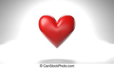 coeur, arrière-plan., blanc, objet, forme, pulsing, rouges
