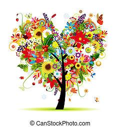 coeur, art, arbre, quatre, forme, conception, seasons., ton