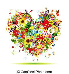 coeur, art, quatre, forme, conception, seasons., ton